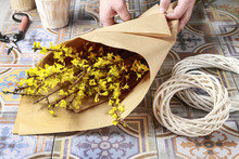 Bunch Of Forsythia Flowers In Paper Wrapping