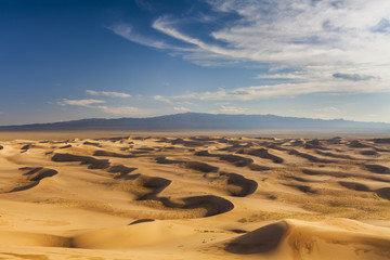Fototapeta na wymiar Beautiful view of the dunes of the Gobi Desert. Mongolia.
