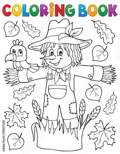Foto op Plexiglas Voor kinderen Coloring book scarecrow theme 1