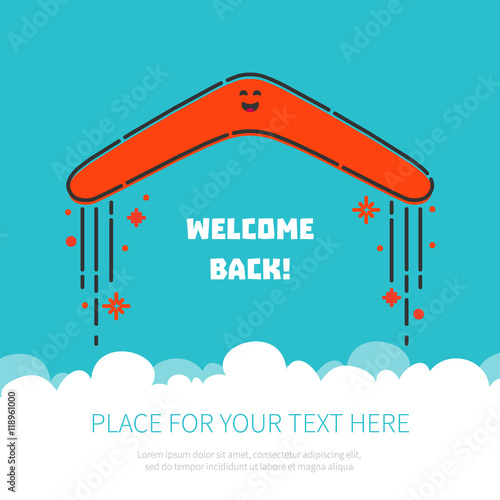 Photo  Welcome back concept with a flying boomerang and place for your text on blue background