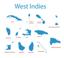 West Indies - Vector Maps Of C...