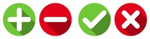Set Of Plus, Minus, Check & Cross Flat Icons