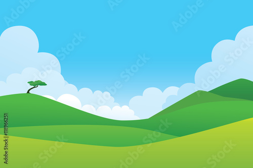 In de dag Groene koraal Green hill landscape. Vector illustration of panorama view with green mountain landscape and cloud sky.