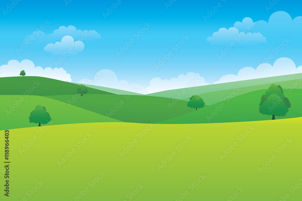 Fototapety, obrazy: Green hill landscape.  Vector illustration of panorama view with green mountain landscape and cloud sky.