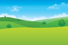 Green Hill Landscape.  Vector ...