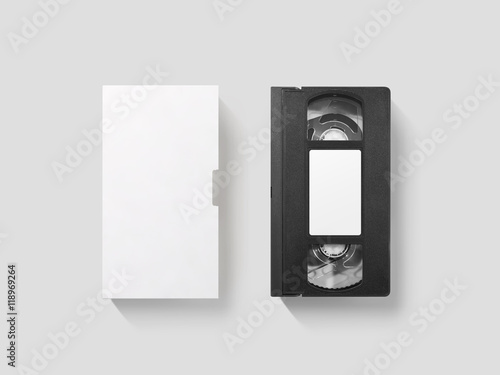 Valokuva  Blank white video cassette tape mockup, isolated, top view, clipping path
