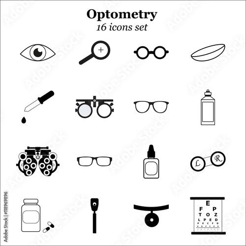 Fotografía  Vector black optometry icon set