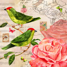 Vintage Collage With Roses, Birds, Butterflies, Postage Stamps