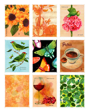 Set Of Postage Stamps, Vintage Stylized, With Watercolor Drawing