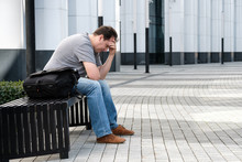 Sad Headache Middle Age Man Portrait Outdoors