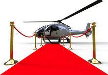 Celebrity Helicopter / 3D Render Image Representing A Red Carpet With A Helicopter At The End
