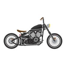Old Vintage Black Bobber Bike. Cafe Racer Theme