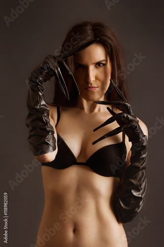 Naked Young Girl In Leather Latex Gloves Catwoman Style I