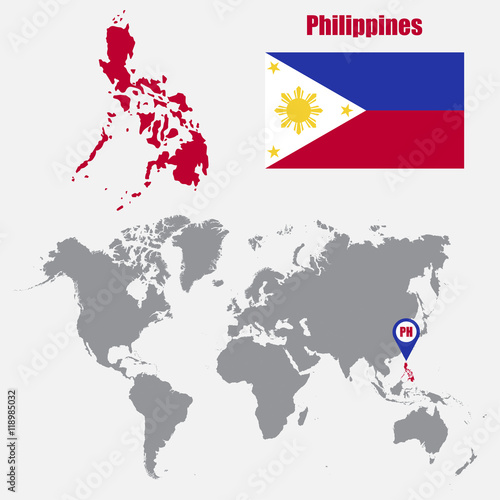 Philippines map on a world map with flag and map pointer ...