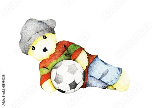 Hand Drawn of Cute Teddy Bear Playing Soccer Ball Poster