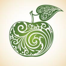 Decorative Ornamental Green Apple With A Leaf