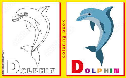 childrens coloring book with letters and words the letter d d