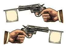 Male Hand Holding Revolver With Flag For Text. Vector Engraving Vintage Illustrations.