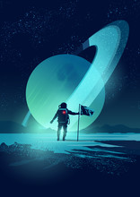 An Astronaut Plants A Flag On A Distant Planet Set Against A Gas Giant Ringed Planet. Vector Illustration