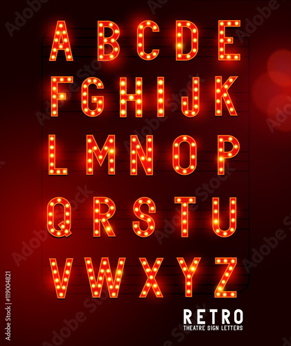 Retro lightbulb glowing theatre and cinema sign letters Fotobehang