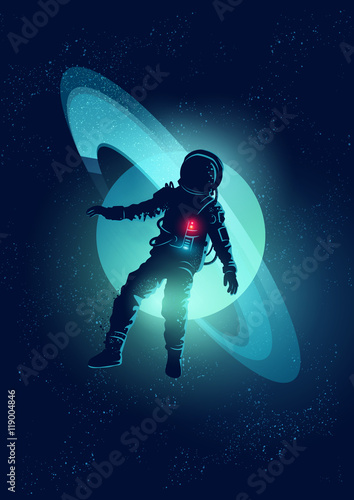 Cuadros en Lienzo An astronaut floating through Space. Vector illustration