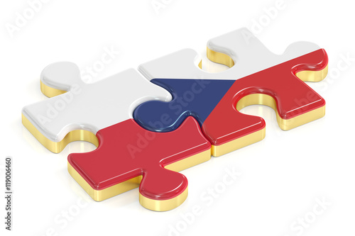 Czech Republic and Poland puzzles from flags, 3D rendering Poster