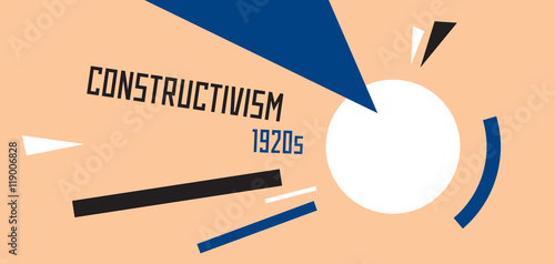 Valokuva  Soviet constructivism abstract illustration. Stylized 1920s years