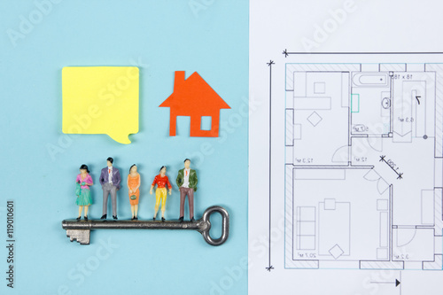 Real estate concept construction building blank speech bubbles real estate concept construction building blank speech bubbles people toy figures paper malvernweather Image collections