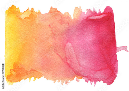Pink-orange watercolor texture on a white background Wallpaper Mural