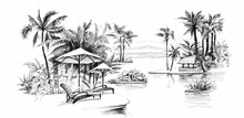 Black And White Painting Palm ...