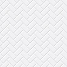 White Tiles, Ceramic Brick. Diagonal Seamless Pattern. Vector Illustration EPS 10