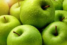 Fresh Green Apples With Rain Droplets Morning Sun.