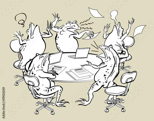 Fotografie, Obraz  パソコンと蛙-混乱する会議