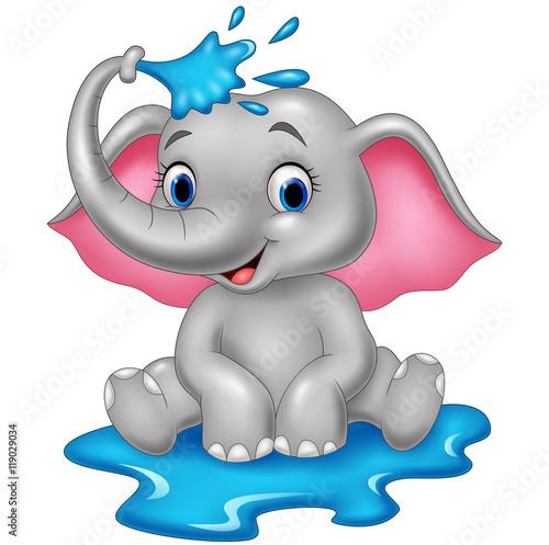 Kreskówka słoń śmieszny oprysków wody