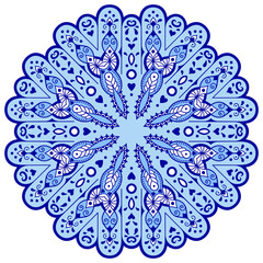 Obraz na Szkle Folklor Blue mandala in the shape of snowflakes. Abstract winter pattern. Handmade Vector blue on a white background. Ethnic pattern in oriental style.