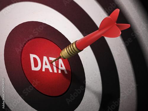 DATA target hitting by dart arrow Canvas Print