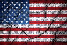 USA Flag With Binary Text And ...