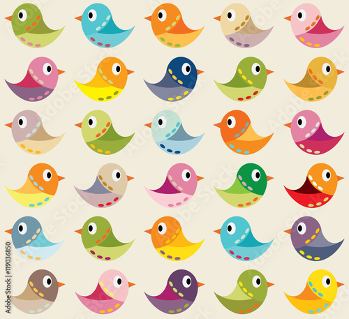 Cotton fabric Seamless vector background with colorful birds. Can be used for textiles, card backgrounds, invitations, posters and other prints.