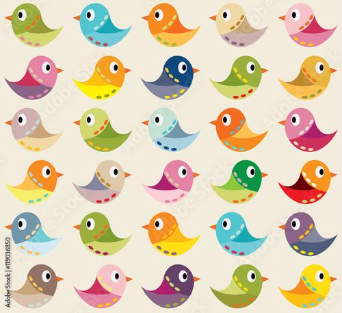 Materiał do szycia Bezszwowe tło z kolorowych ptaków. Może służyć do tekstyliów, tła karty, zaproszenia, plakaty i inne druki.