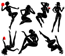 Vector Silhouette Of Pin Up Gi...