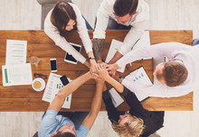 Teamwork And Teambuilding Concept In Office, People Connect Hands