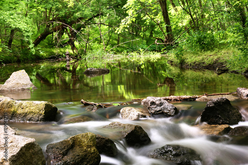 Foto op Aluminium Rivier Creek with rocks in a forest