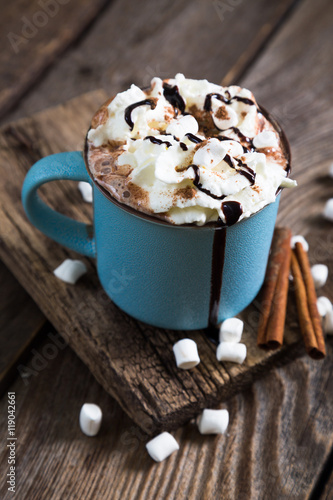 Foto op Plexiglas Chocolade hot chocolate with whipped cream and cinnamon