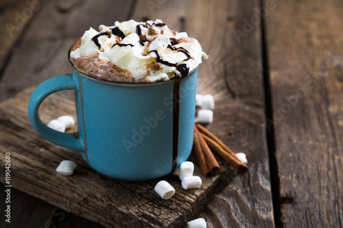 Foto auf Gartenposter Schokolade hot chocolate with whipped cream and cinnamon