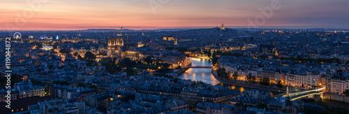 Obraz na plátně Paris Rive Droite au coucher du soleil