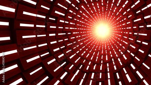 Obraz na płótnie Tunel 3D i czerwone światło