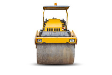 Front View Of The Steamroller A Modern Road Roller With Yellow Color Isolated On White Background.