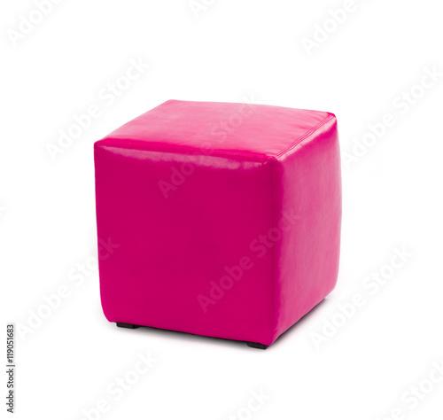 Fotografia  pink leather foot stool ottoman