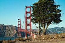 Rush Hour On The World Famous Golden Gate Bridge, San Francisco,USA ,view From Baker Beach,