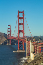 Rush Hour On The World Famous Golden Gate Bridge, San Francisco,USA ,view From Baker Beach.